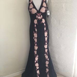 Size 14 Betsy Adam Mermaid Embroidered Gown tags